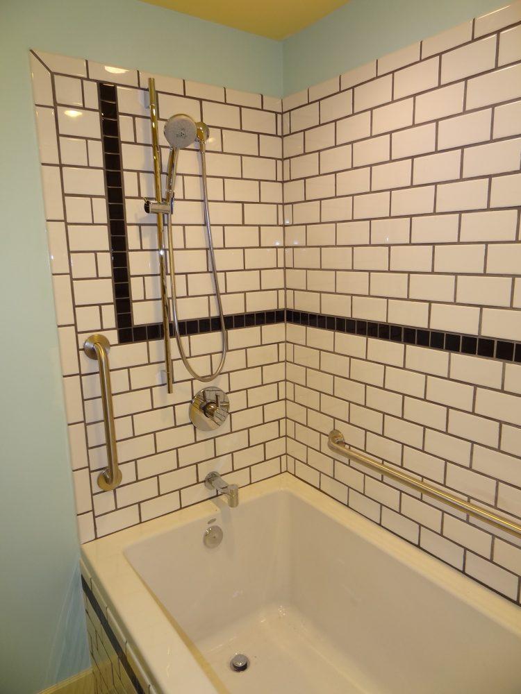 subway tile, safety bars, deep soaking tub Fairbanks AK